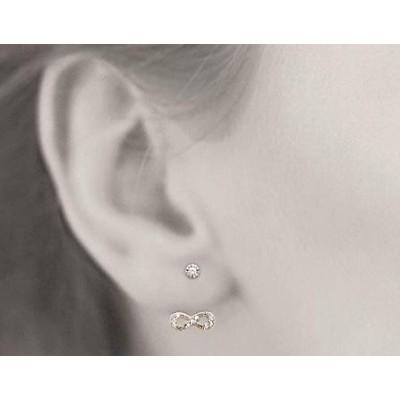 Boucles, lobes d'oreille plaqué or et zircon pour femme, Infini - Lyn&Or Bijoux