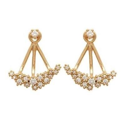 Boucles d'oreilles tendance pour femme plaqué or et zircon, Erina