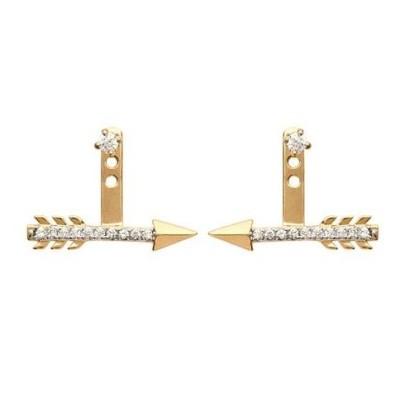Lobes d'oreilles plaqué or et zircon pour femme - Flèche - Lyn&Or Bijoux