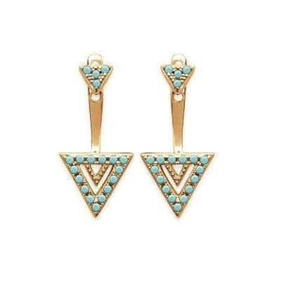 Boucles d'oreilles tendance pour femme triangle, en plaqué or et turquoise, Léna