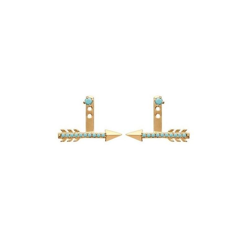 Lobes d'oreilles plaqué or et turquoise synthétique pour femme - Flèche - Lyn&Or Bijoux