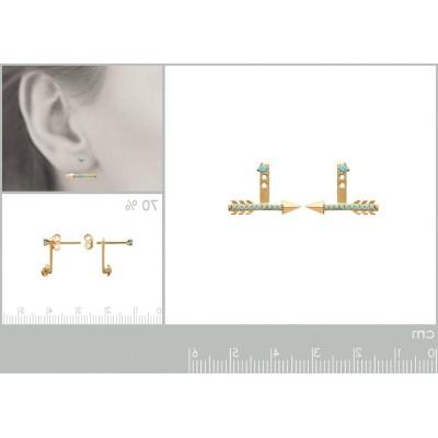 Lobes d'oreilles plaqué or et turquoise synthétique pour femme, Flèche