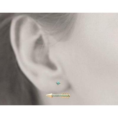 Boucles, lobes d'oreilles plaqué or et turquoise synthétique pour femme, Flèche