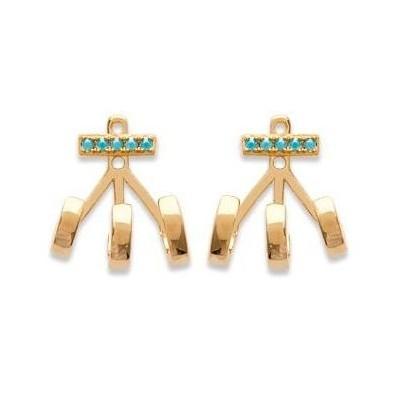 Lobes d'oreilles femme en plaqué et turquoise pour femme pour femme - Suzy - Lyn&Or Bijoux