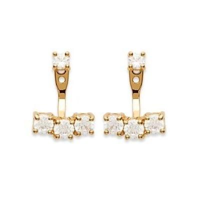 Boucles d'oreilles tendance pour femme en plaqué or et zircon, Izana