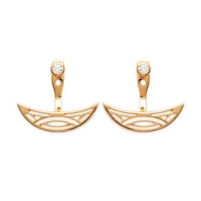 Lobes d'oreilles plaqué or bicolore et zircon pour femme - Cyclades - Lyn&Or Bijoux