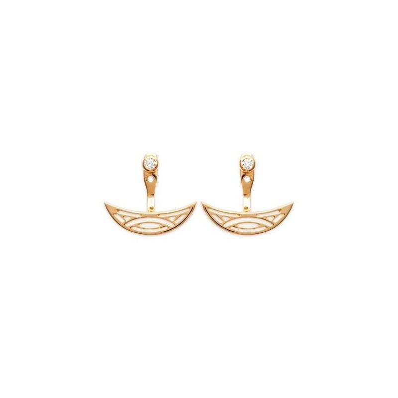 Boucles d'oreilles tendance pour femme plaqué or bicolore et zircon, Cyclades