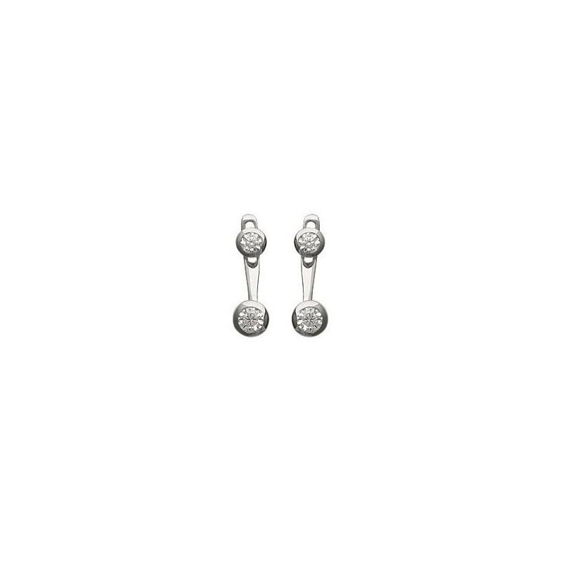 Lobes d'oreilles en argent rhodié et zircon microserti pour femme - Sollina - Lyn&Or Bijoux