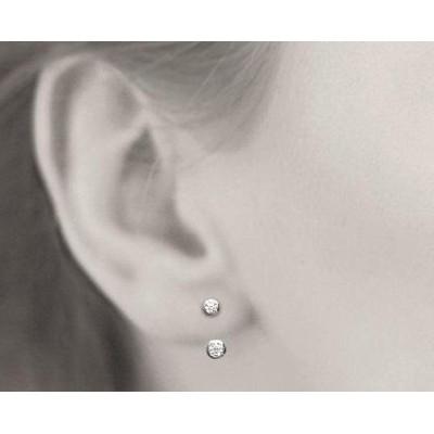 Boucles, lobes d'oreilles en argent rhodié et zircon microserti pour femme, Sollina