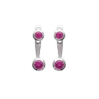 Boucles d'oreilles tendance pour femme en argent rhodié et zircon rose, Sollina