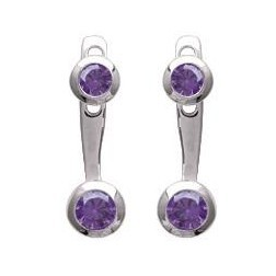 Boucles d'oreilles tendance pour femme en argent rhodié et zircon violet, Sollina
