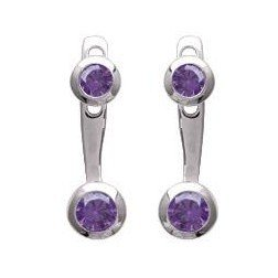 Lobes d'oreille femme en argent rhodié & zircon violet - Sollina - Lyn&Or Bijoux