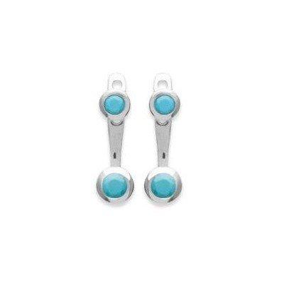 Lobes d'oreilles en argent rhodié et pierre turquoise pour femme - Sollina - Lyn&Or Bijoux