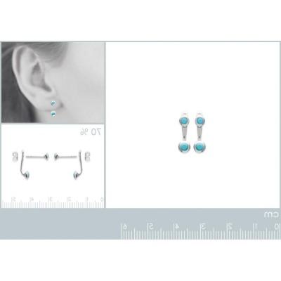 Lobes d'oreilles en argent rhodié et pierre turquoise pour femme, Sollina
