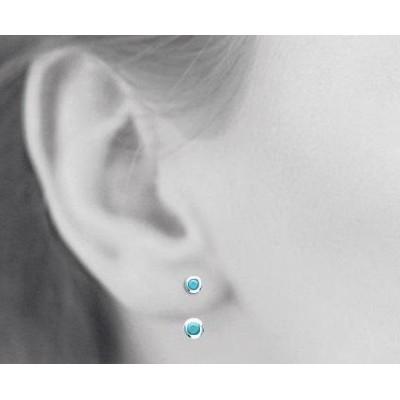 Boucles, lobes d'oreilles en argent rhodié et pierre turquoise pour femme, Sollina