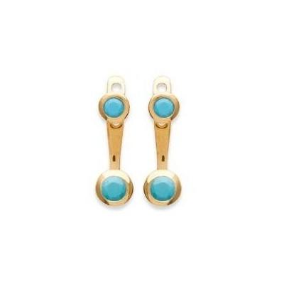 Boucles d'oreilles tendance pour femme plaqué or turquoise synthétique, Sollina