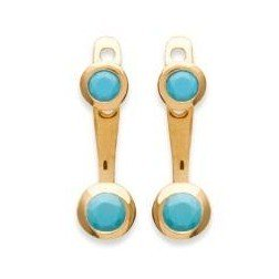 Lobes d'oreilles plaqué or turquoise synthétique- Sollina - Lyn&Or Bijoux