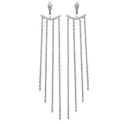 Lobes d'oreilles pendants en argent rhodié et zircon pour femme - Sybille - Lyn&Or Bijoux