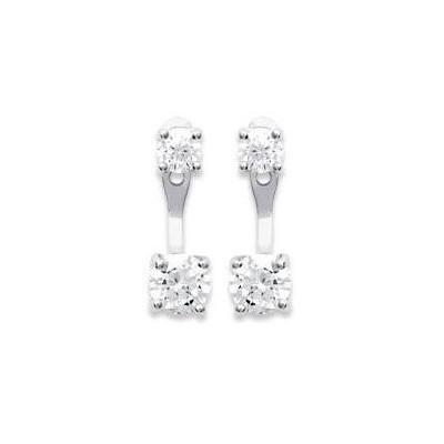 Lobes d'oreilles en argent rhodié et zircon solitaire pour femme - Prima - Lyn&Or Bijoux