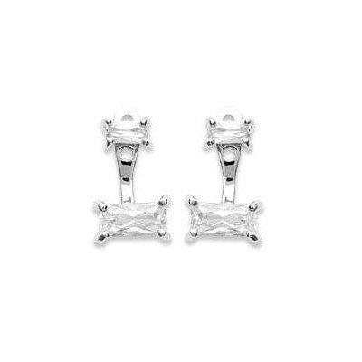 Lobes d'oreilles en argent rhodié et zircon rectangle pour femme - Taji - Lyn&Or Bijoux