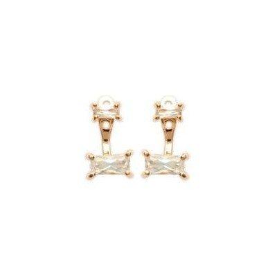 Lobes d'oreilles en plaqué or et zircon pour femme - Taji - Lyn&Or Bijoux