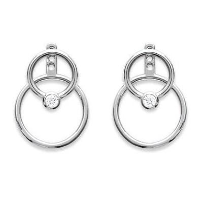 Boucles d'oreilles tendance pour femme en argent rhodié et zircon, Lybelle