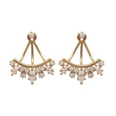 Boucles d'oreilles tendance pour femme plaqué or et zircon, Lili