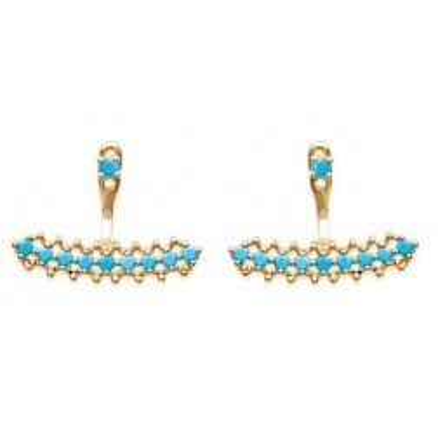 Boucles d'oreilles tendance pour femme en plaqué or et pierre turquoise, Paulla