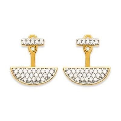 Boucles d'oreilles tendance pour femme en plaqué or et zircon, Elégante