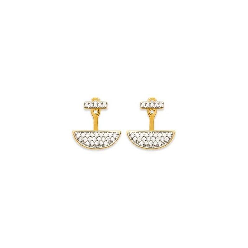 Lobes d'oreilles femme en plaqué or et zircon - Elégante - Lyn&Or Bijoux
