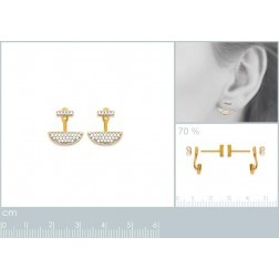 Lobes d'oreilles femme en plaqué or et zircon pour femme, Elégante