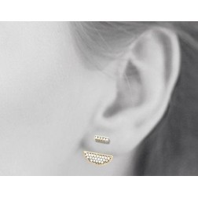 Boucles, lobes d'oreilles femme en plaqué or et zircon pour femme, Elégante