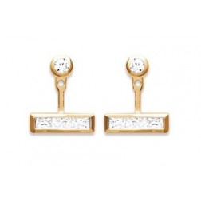 Boucles d'oreilles tendance pour femme plaqué or et zircon rectangulaire, Andalousie