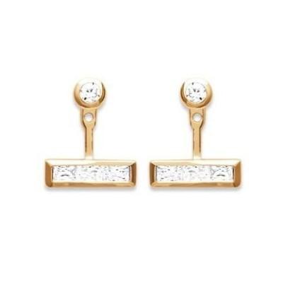 Lobes d'oreilles plaqué or et zircon rectangulaire pour femme - Andalousie - Lyn&Or Bijoux