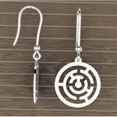 Boucles d'oreilles en argent 925 pour Femme, Labyrinthe