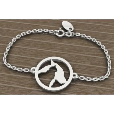 Bracelet créateur en en argent 925 pour Femme, Cat and Dog