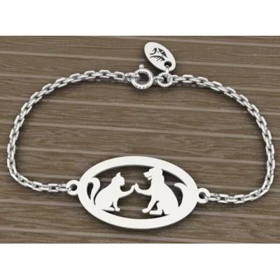 Bracelet en argent 925 pour Femme, Chien et Chat