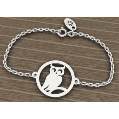 Bracelet en argent 925 pour Femme, Chouette