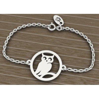 Bracelet créateur pour femme en argent rhodié - Hibou - Lyn&Or Bijoux