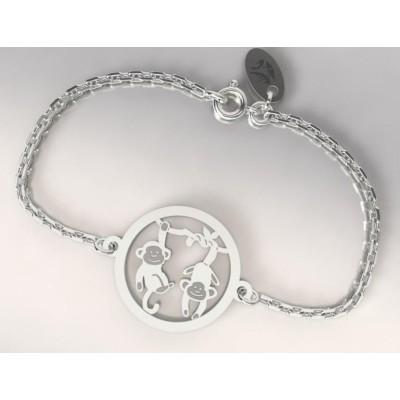 Bracelet en argent 925 pour Femme, Deux Singes