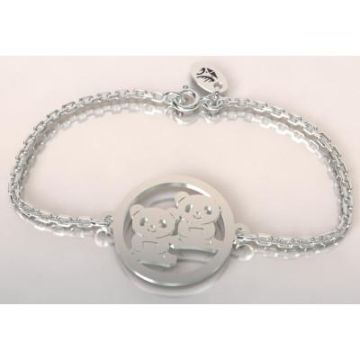 Bracelet en argent 925 pour Femme, Panda