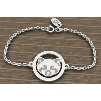 Bracelet en argent 925 pour Femme, Panda roux