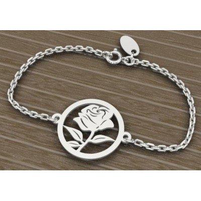 Bracelet créateur pour femme en argent rhodié - Rosier - Lyn&Or Bijoux