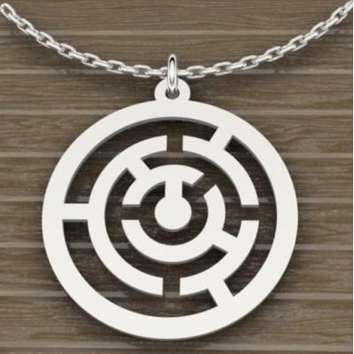 Collier et pendentif en argent 925 pour Femme, Labyrinthe