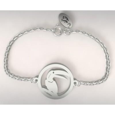 Bracelet créateur pour femme en argent rhodié - Toucan - Lyn&Or Bijoux