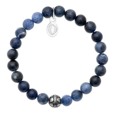 Bracelet en pierres naturelles Sodalite et acier pour femme, marque Shark'n Stones Bleu