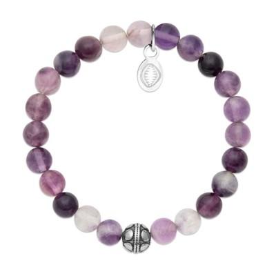 Bracelet en pierres naturelles Fluorite et acier pour femme, marque Shark'n Stones Violet