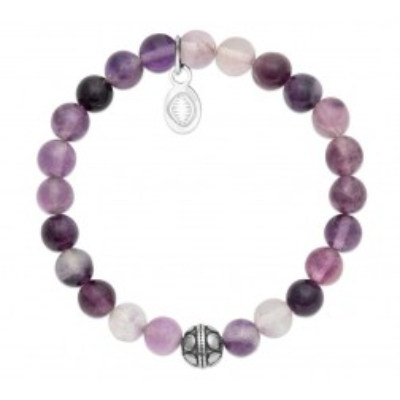 Bracelet pour femme Fluorite et acier - Shark'n Stones Violet - Lyn&Or Bijoux