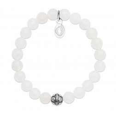 Bracelet en pierres naturelles Jade et acier pour femme, marque Shark'n Stones Blanc