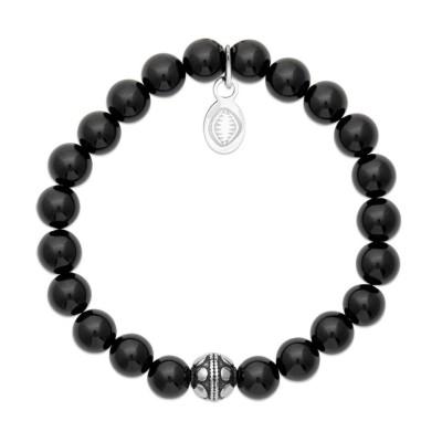 Bracelet en pierres naturelles Agate et acier pour femme, marque Shark'n Stones Noir
